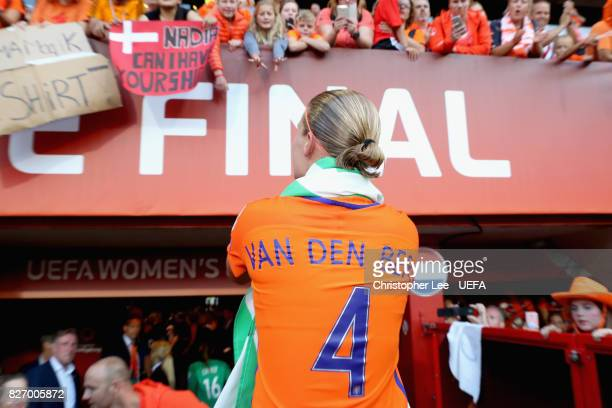 Mandy van den Berg of the Netherlands celebrates following the Final of the UEFA Women's Euro 2017 between Netherlands v Denmark at FC Twente Stadium...