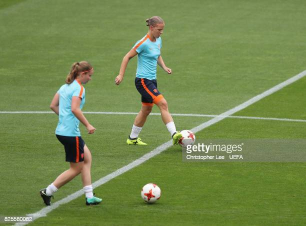 Mandy van den Berg of the Netherlands in action during the Netherlands Training Session at FC Twente Stadion on August 2 2017 in Enschede Netherlands