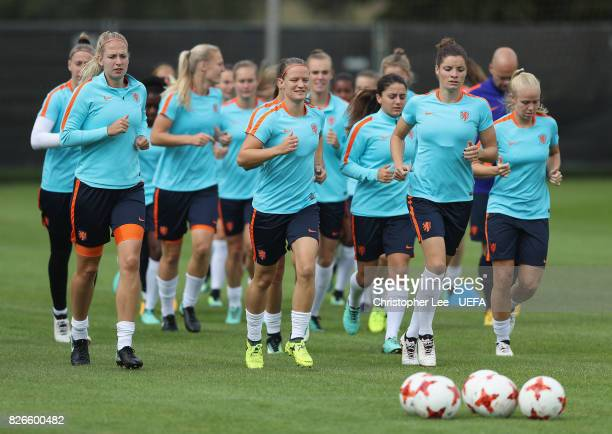 Mandy van den Berg of the Netherlands leads the warm up during the Netherlands Training session at SV De Lutte on August 5 2017 in Enschede...