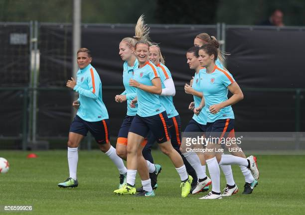 Mandy van den Berg of the Netherlands smiles as they warm up during the Netherlands Training session at SV De Lutte on August 5 2017 in Enschede...