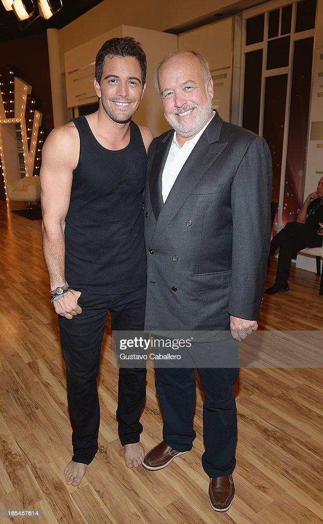 Mane de la Parra and father Mane de la Parra Senior on the set of Mira Quien Baila at Univision Headquarters on October 20, 2013 in Miami, Florida.