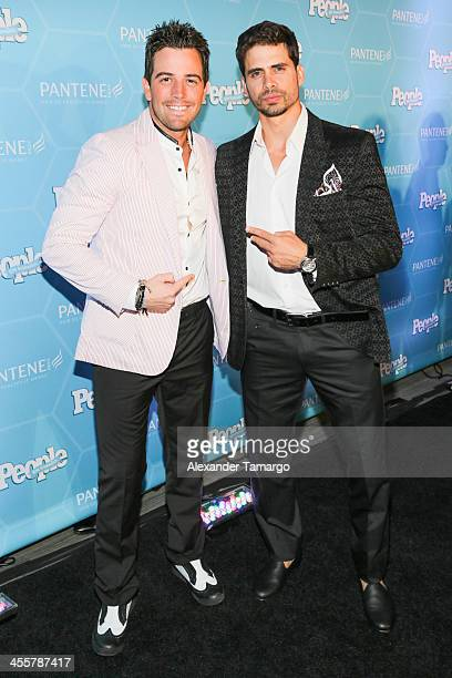 Mane de la Parra and Pedro Moreno arrive at the Estrellas Del Ano De People En Espanol party at The James Royal Palm Hotel on December 12 2013 in...