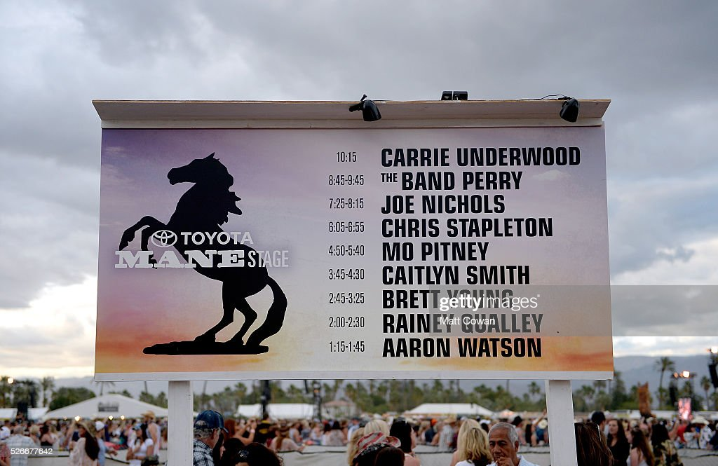 Mane stage set times are seen during 2016 Stagecoach California's Country Music Festival at Empire Polo Club on April 30, 2016 in Indio, California.