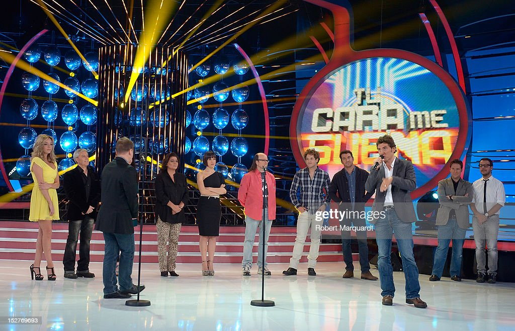 Manel Fuentes (3rdR) attends a presentation of the 2nd season of 'Tu Cara Me Suena' at the Antenna 3 studios on September 25, 2012 in Barcelona, Spain.