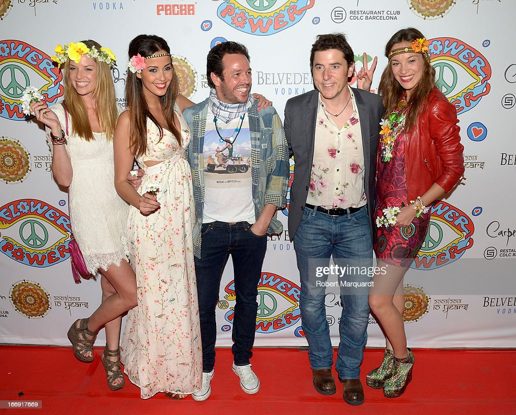 Manel Fuentes (2ndR) attends the Flower Power Pacha Party 2013 at the Carpe Diem club on April 18, 2013 in Barcelona, Spain.