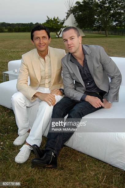Manel Garcia and Josh Reed attend ACRIA Vanity Fair and Calvin Klein Collection Presents Cocktails at Sunset at Private Residence on July 12 2008 in...