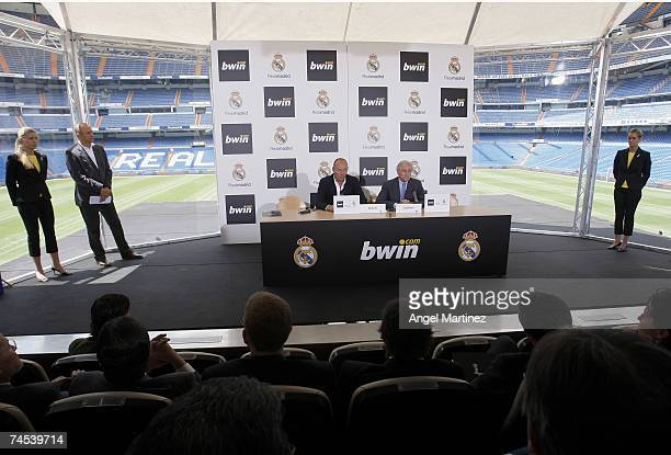 Manfred Bodner CoCEO of Bwin and Real Madrid president Ramon Calderon speak as Real Madrid sign a 3 year sponsorship deal with Bwin at the Santiago...