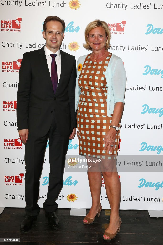 Manfred Kroneder and Claudia Rutt attend the DKMS LIFE Charity Ladies lunch at Soho House on August 8, 2013 in Berlin, Germany.