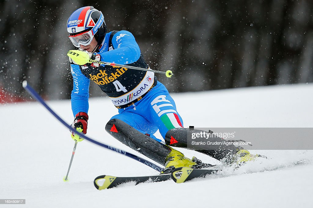 Manfred Moelgg of Italy competes during the Audi FIS Alpine Ski World Cup Men's Slalom on March 10, 2013 in Kranjska Gora, Slovenia.