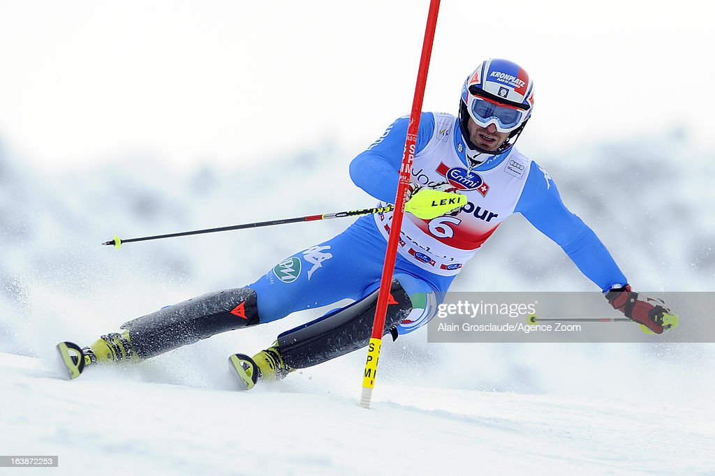 Manfred Moelgg of Italy competes during the Audi FIS Alpine Ski World Cup Men's Slalom on March 17, 2013 in Lenzerheide, Switzerland.