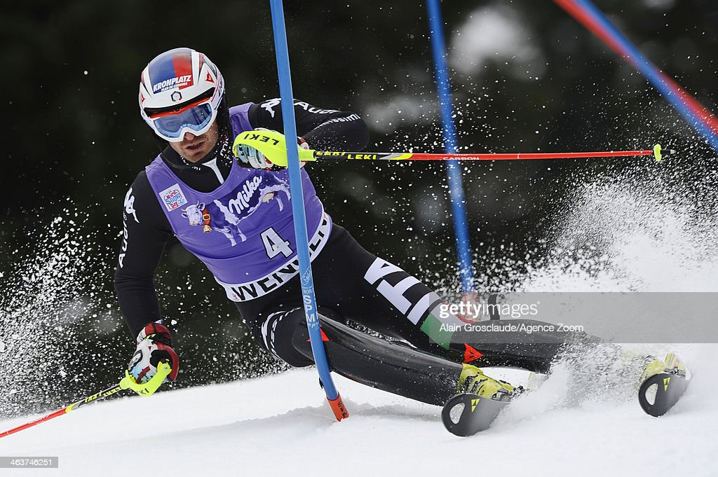 <a gi-track='captionPersonalityLinkClicked' href=/galleries/search?phrase=Manfred+Moelgg&family=editorial&specificpeople=876765 ng-click='$event.stopPropagation()'>Manfred Moelgg</a> of Italy competes during the Audi FIS Alpine Ski World Cup Men's Slalom on January 19, 2014 in Wengen, Switzerland.