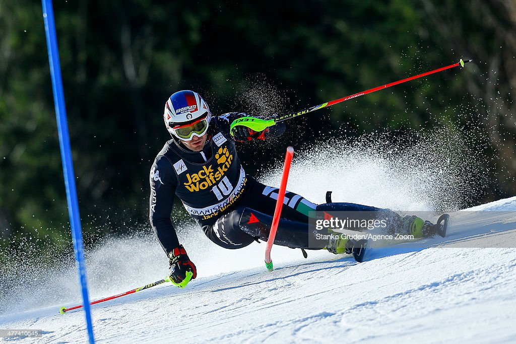 <a gi-track='captionPersonalityLinkClicked' href=/galleries/search?phrase=Manfred+Moelgg&family=editorial&specificpeople=876765 ng-click='$event.stopPropagation()'>Manfred Moelgg</a> of Italy competes during the Audi FIS Alpine Ski World Cup Men's Slalom on March 09, 2014 in Kranjska Gora, Slovenia.