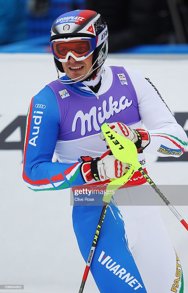 <a gi-track='captionPersonalityLinkClicked' href=/galleries/search?phrase=Manfred+Moelgg&family=editorial&specificpeople=876765 ng-click='$event.stopPropagation()'>Manfred Moelgg</a> of Italy reacts in the finish area after skiing in the Men's Slalom during the Alpine FIS Ski World Championships on the Gudiberg course on February 20, 2011 in Garmisch-Partenkirchen, Germany.
