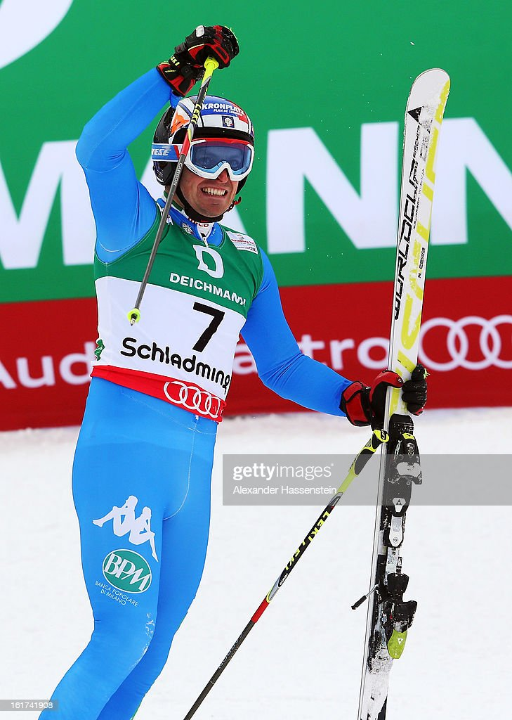 <a gi-track='captionPersonalityLinkClicked' href=/galleries/search?phrase=Manfred+Moelgg&family=editorial&specificpeople=876765 ng-click='$event.stopPropagation()'>Manfred Moelgg</a> of Italy reacts in the finish area after skiing in the Men's Giant Slalom during the Alpine FIS Ski World Championships on February 15, 2013 in Schladming, Austria.