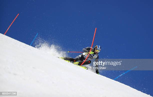 Manfred Moelgg of Italy skis his second run in the men's slalom during the 2017 Audi FIS Ski World Cup Finals at Aspen Mountain on March 19 2017 in...