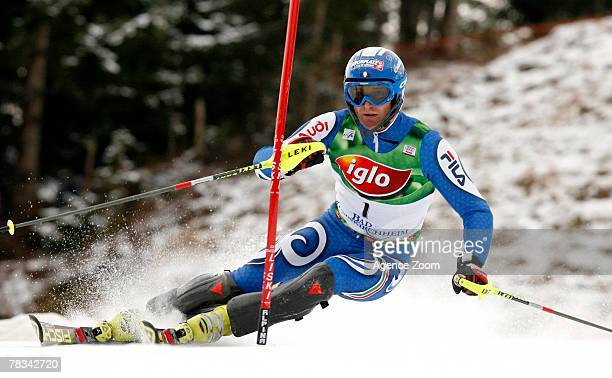 BAD KLEINKIRCHHEIM AUSTRIA DECEMBER 09 Manfred Moelgg of Italy takes 3rd place during the Alpine FIS Ski World Cup Men's Slalom on December 09 2007...