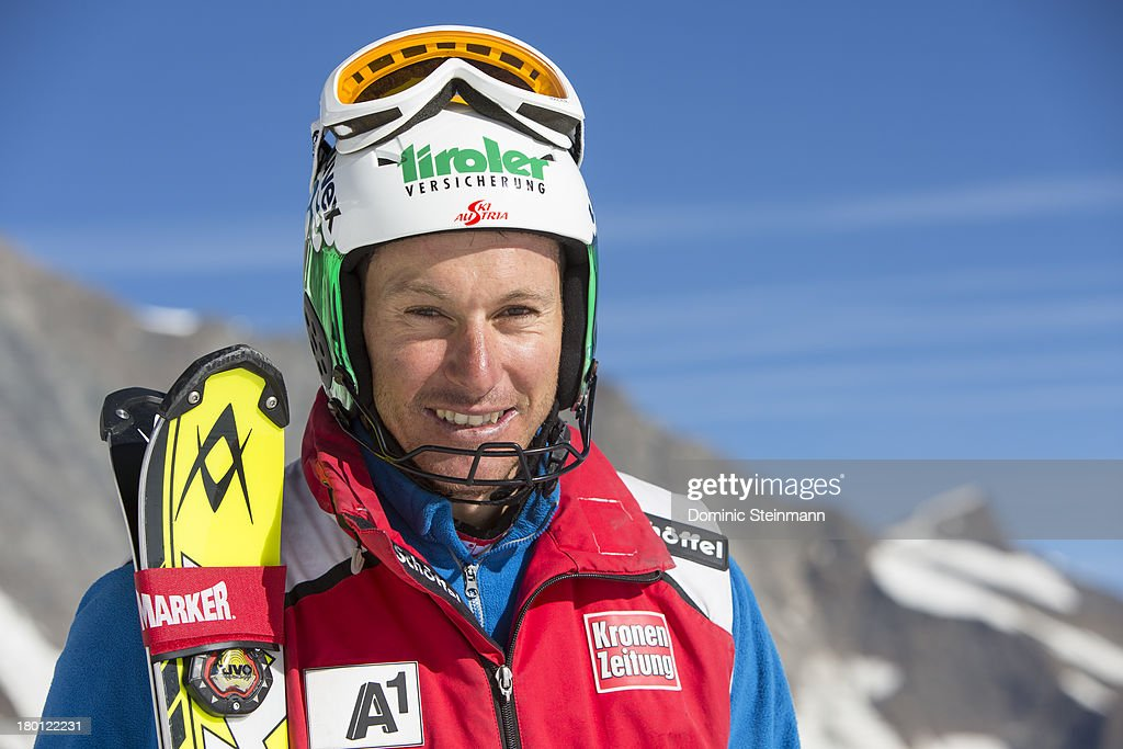 <a gi-track='captionPersonalityLinkClicked' href=/galleries/search?phrase=Manfred+Pranger&family=editorial&specificpeople=2080156 ng-click='$event.stopPropagation()'>Manfred Pranger</a> from the Austrian Alpine Skiing Worldcup Team posing for a portrait on the Fee glacier on August 22, 2013 in Saas-Fee, Switzerland.