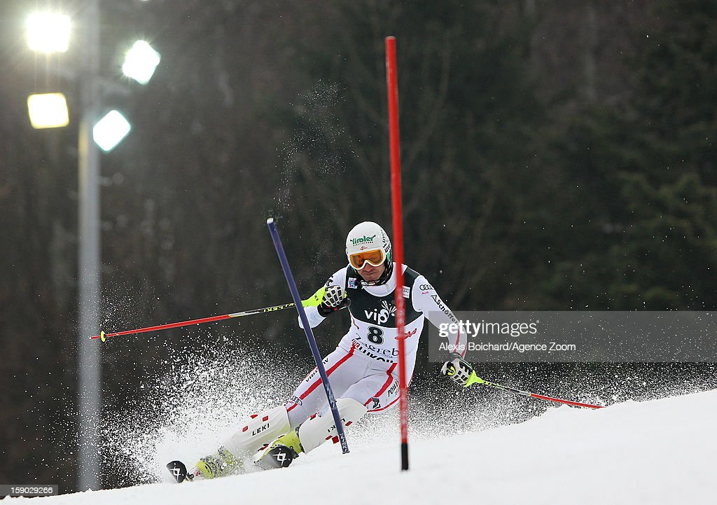 <a gi-track='captionPersonalityLinkClicked' href=/galleries/search?phrase=Manfred+Pranger&family=editorial&specificpeople=2080156 ng-click='$event.stopPropagation()'>Manfred Pranger</a> of Austria competes during the Audi FIS Alpine Ski World Cup Men's Slalom on January 6, 2013 in Zagreb, Croatia.