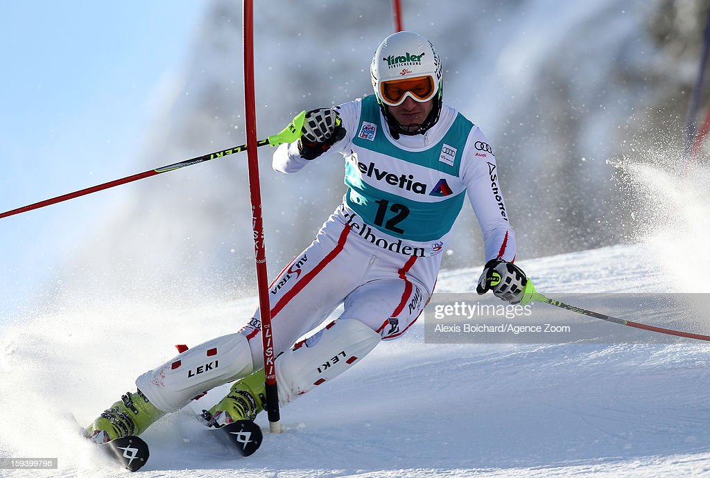 <a gi-track='captionPersonalityLinkClicked' href=/galleries/search?phrase=Manfred+Pranger&family=editorial&specificpeople=2080156 ng-click='$event.stopPropagation()'>Manfred Pranger</a> of Austria competes during the Audi FIS Alpine Ski World Cup Men's Slalom on January 13, 2013 in Adelboden, Switzerland.