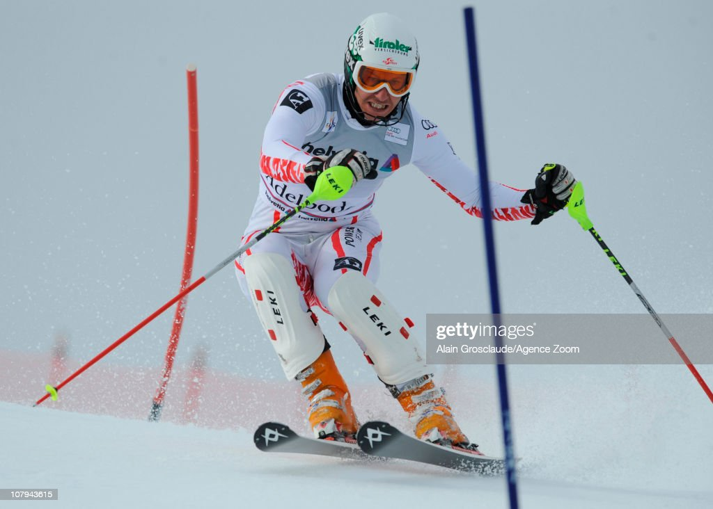 <a gi-track='captionPersonalityLinkClicked' href=/galleries/search?phrase=Manfred+Pranger&family=editorial&specificpeople=2080156 ng-click='$event.stopPropagation()'>Manfred Pranger</a> of Austria in action during the Audi FIS Alpine Ski World Cup Men's Slalom on January 09, 2011 in Adelboden, Switzerland.