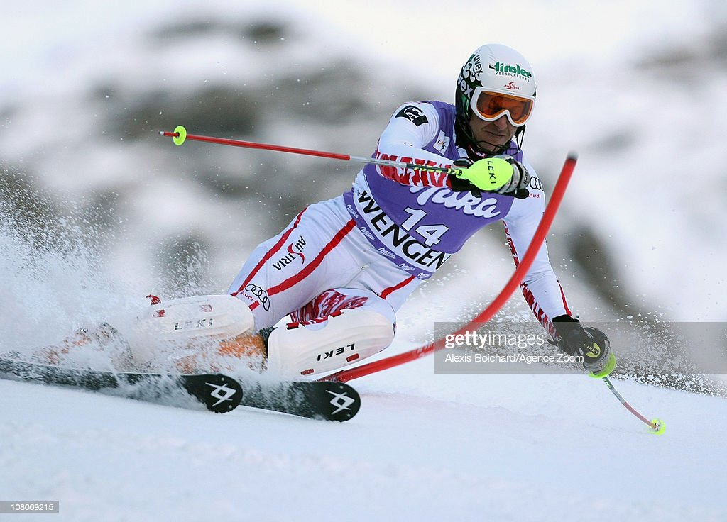 <a gi-track='captionPersonalityLinkClicked' href=/galleries/search?phrase=Manfred+Pranger&family=editorial&specificpeople=2080156 ng-click='$event.stopPropagation()'>Manfred Pranger</a> of Austria in action during the Audi FIS Alpine Ski World Cup Men's Slalom on January 16, 2011 in Wengen, Switzerland.