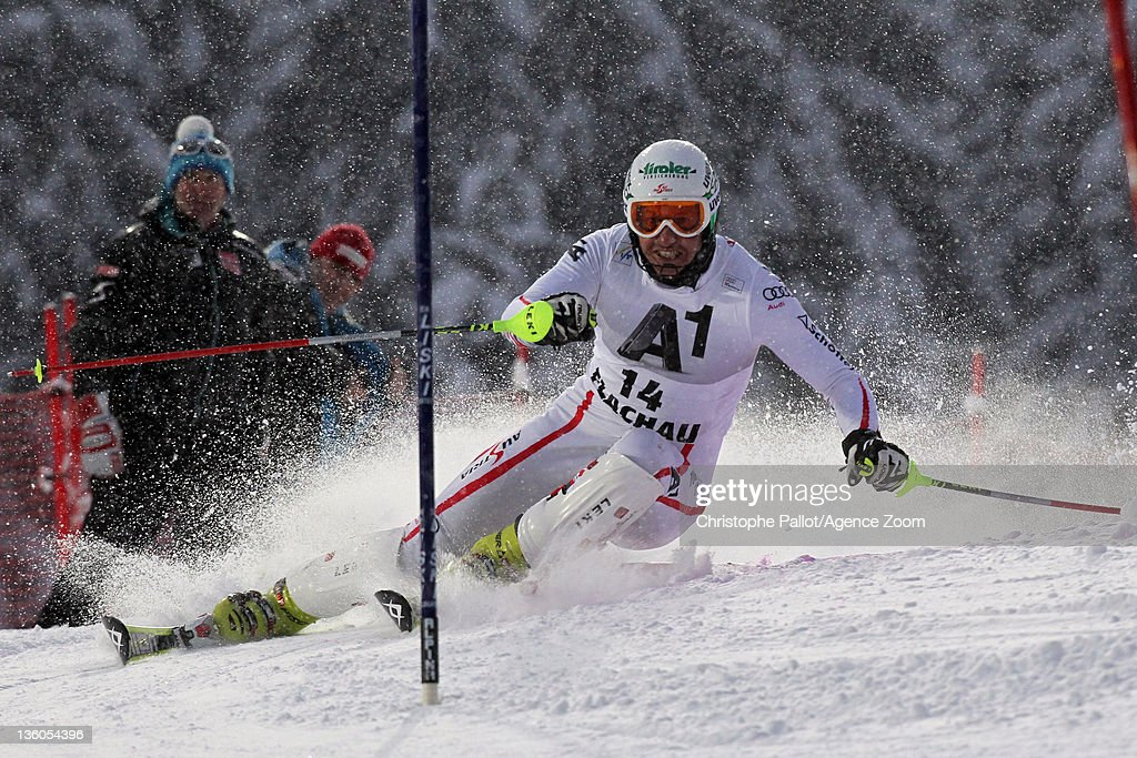 <a gi-track='captionPersonalityLinkClicked' href=/galleries/search?phrase=Manfred+Pranger&family=editorial&specificpeople=2080156 ng-click='$event.stopPropagation()'>Manfred Pranger</a> of Austria in action during the Audi FIS Alpine Ski World Cup Men's Slalom on December 21, 2011 in Flachau, Austria.