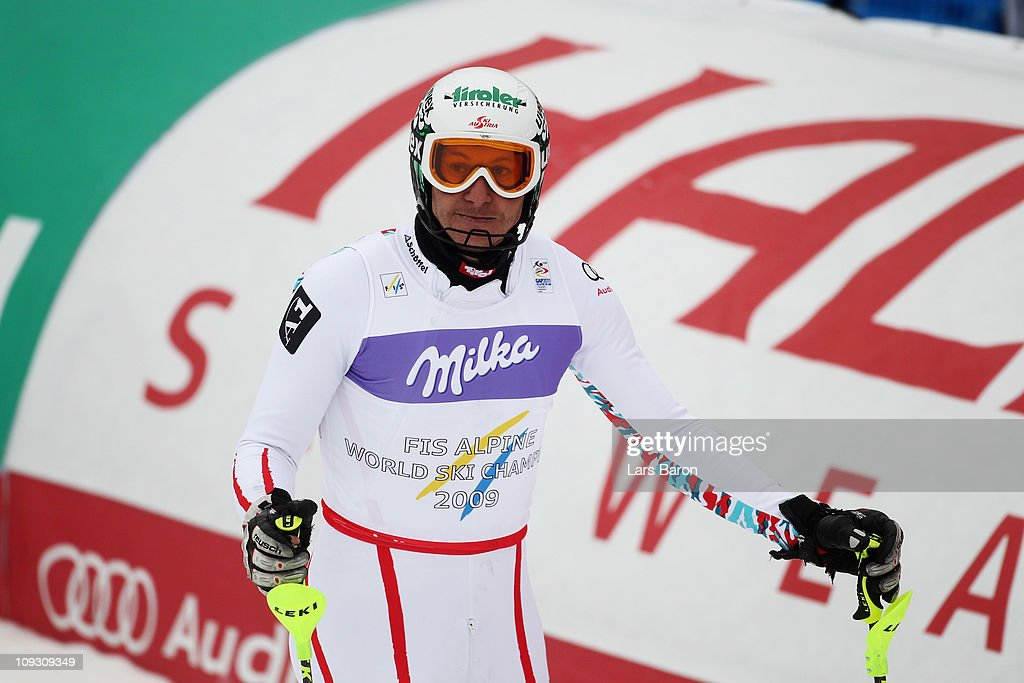 <a gi-track='captionPersonalityLinkClicked' href=/galleries/search?phrase=Manfred+Pranger&family=editorial&specificpeople=2080156 ng-click='$event.stopPropagation()'>Manfred Pranger</a> of Austria reacts in the finish area after skiing in the Men's Slalom during the Alpine FIS Ski World Championships on the Gudiberg course on February 20, 2011 in Garmisch-Partenkirchen, Germany.