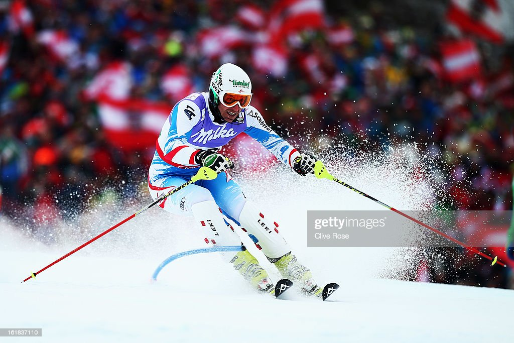 <a gi-track='captionPersonalityLinkClicked' href=/galleries/search?phrase=Manfred+Pranger&family=editorial&specificpeople=2080156 ng-click='$event.stopPropagation()'>Manfred Pranger</a> of Austria skis in the Men's Slalom during the Alpine FIS Ski World Championships on February 17, 2013 in Schladming, Austria.