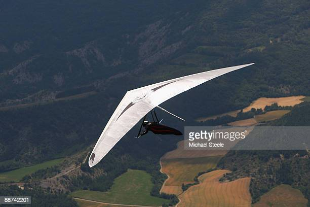 Manfred Ruhmer of Austria the three times world champion and four times European champion takes off from the Aspres Longeane hill during the 17th FAI...
