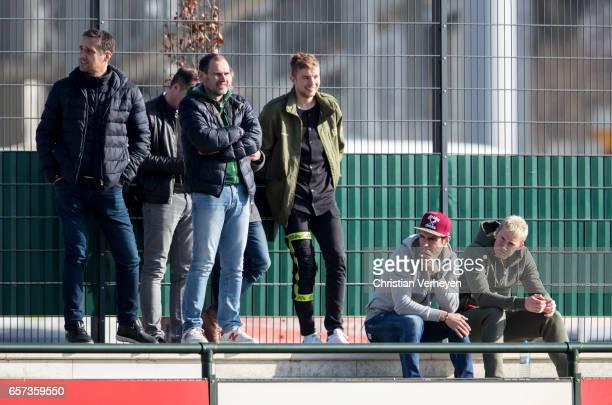Manfred Stefes Christoph Kramer Lars Stindl and Marvin Schulz of Borussia Moenchengladbach watch the Friendly Match between Borussia Moenchengladbach...