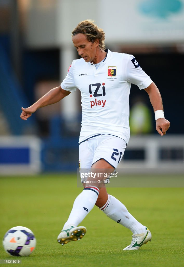 Manfredini Thomas of Genoa in action during a Pre Season Friendly between West Bromwich Albion and Genoa at the New Bucks Head Stadium on August 1, 2013 in Telford, England.