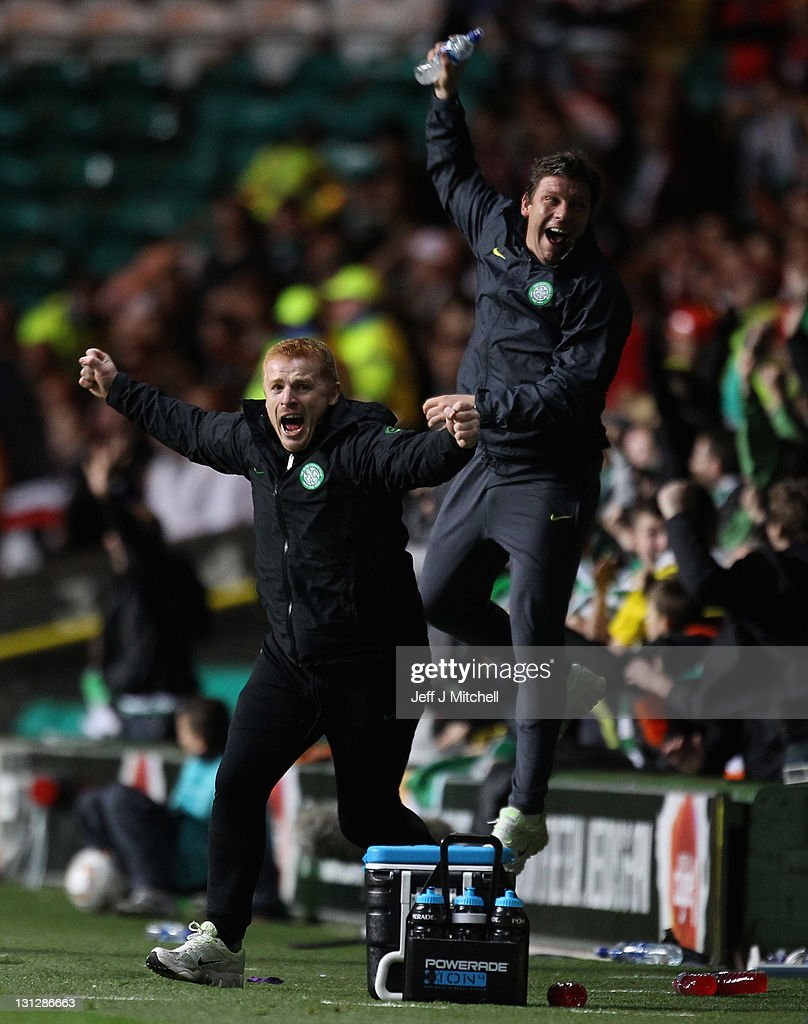 Manger Neil Lennon of Celtic celebrates a goal by Gary Hooper during the UEFA Europa League group I match between Celtic and Stade Rennais at Celtic...