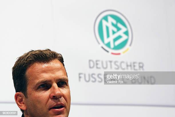 Manger Oliver Bierhoff attends the German Football National Team press conference at the Guerzenich Koeln on September 2 2009 in Cologne Germany