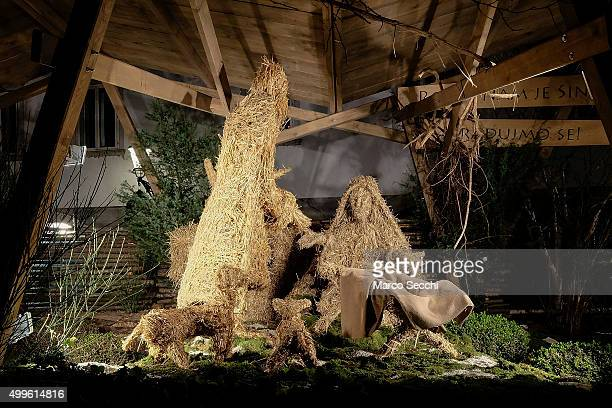 Manger with straw figures of three magi shepherd and sheeps made by Anton Kravanja are set in the city centre on December 2 2015 in Ljubljana...