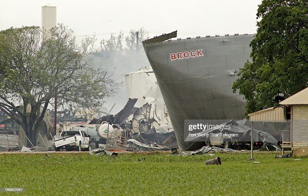 Mangled metal and debris are all that remains of a fertilizer plant in West, Texas, on Thursday, April 18, 2013. Much of the small town suffered damage when the plant caught fire causing a massive explosion Wednesday night. Authorities are still trying to determine the death and injury toll.