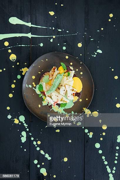 Mango and green tea ice cream with meringues