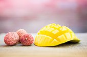 Mango And Lychee On Table