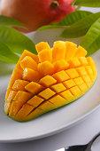 Mango cubes cutting in  plate