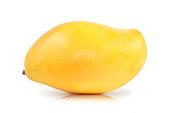 Beautiful  shape of Ripe yellow mango isolated white background