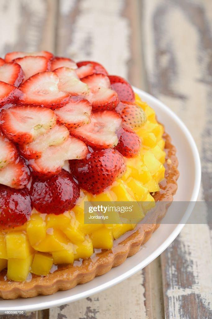 mango strawberry fresh fruits tart cake : Stock Photo