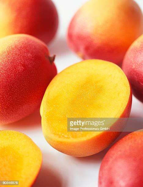 Mangoes on white background, close up