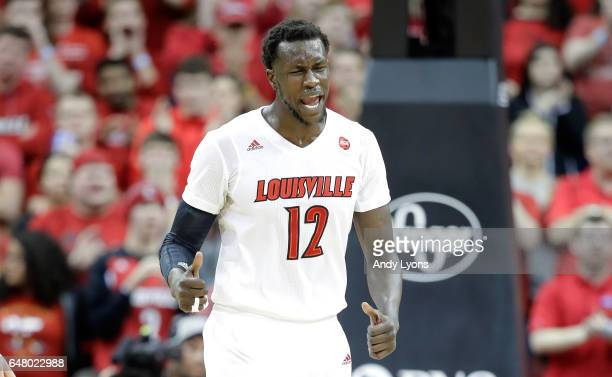 Mangok Mathiang of the Louisville Cardinals celebrates in the game against the Notre Dame Fighting Irish at KFC YUM Center on March 4 2017 in...