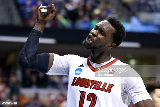 Mangok Mathiang of the Louisville Cardinals reacts against the Jacksonville State Gamecocks during the first round of the 2017 NCAA Men's Basketball...