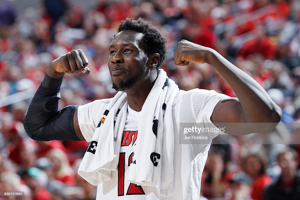 Mangok Mathiang #12 of the Louisville Cardinals reacts in the second half of the game against the Eastern Kentucky Colonels at KFC YUM! Center on December 17, 2016 in Louisville, Kentucky. Louisville defeated Eastern Kentucky 87-56.