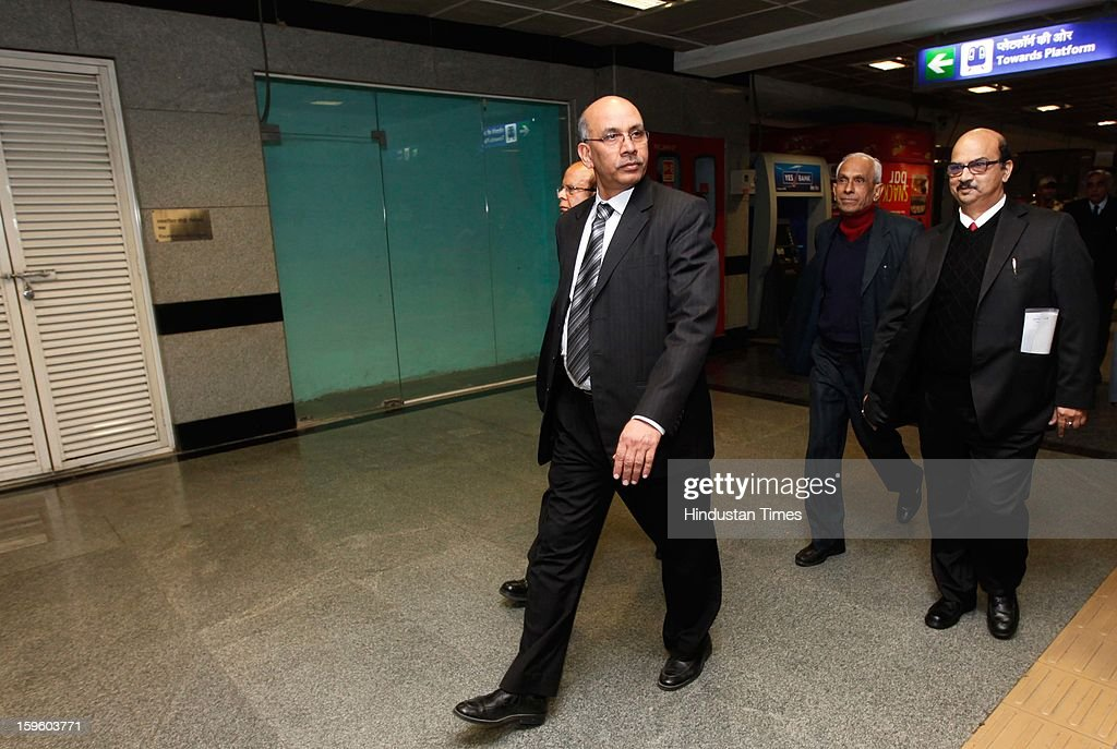 Mangu Singh, DMRC Managing Director, with other officials inside Patel Chowk Metro Station on January 17, 2013 in New Delhi, India.