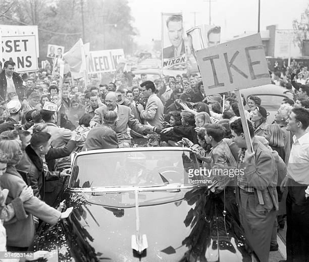 Almost Lost In The Crowd Republican Presidential hopeful Dwight D Eisenhower is besieged by the crowd as he whistlestops at Manhasset Oct 28 during...