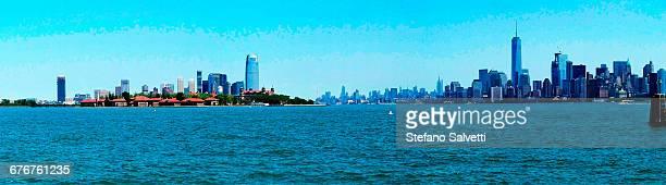 Manhattan and Ellis island from Liberty island
