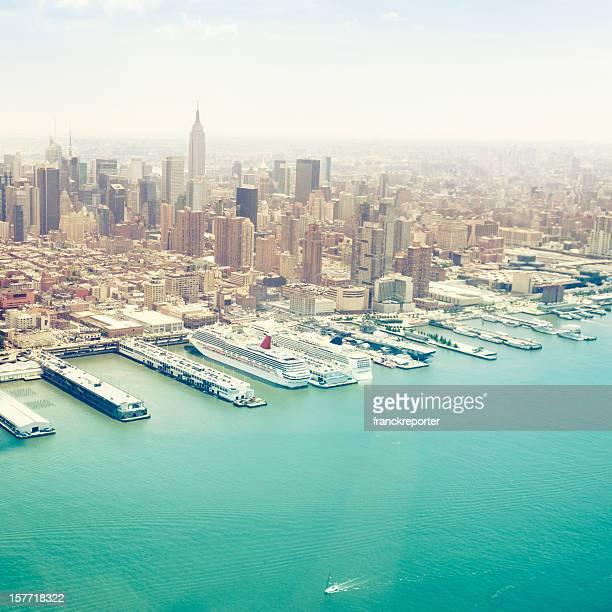 Vista aérea de Manhattan y vista a la Zona Cero
