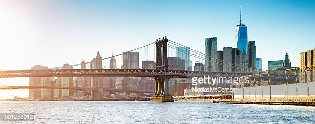 Manhattan bridge at sunset with Manhattan and Wall street