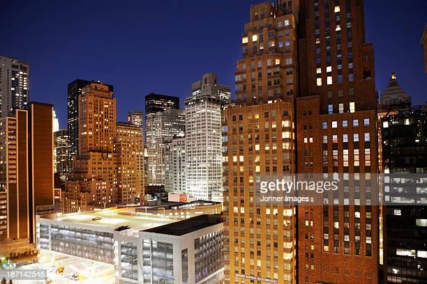 Manhattan buildings at night